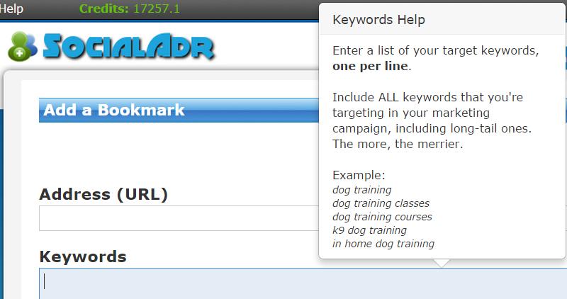 Keywords tooltip