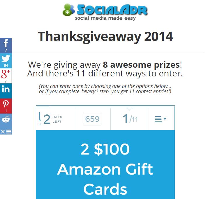 SocialAdr Thanksgiveaway Contest