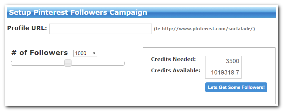 SocialAdr - Pinterest Followers Campaign Setup