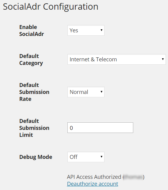 SocialAdr WordPress plugin settings